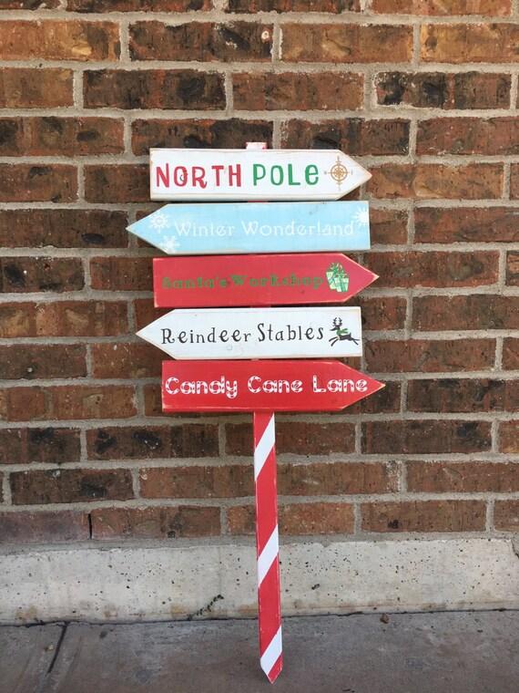 Christmas Yard Sign Christmas Decor Directional Sign Winter