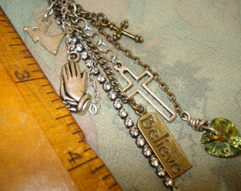 Angel Cross Praying Hands Tassel Jewelry Zipper Pull Pendant