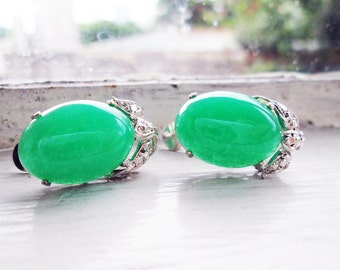 Big Vintage 14K White Gold Earrings with New Green Oval Cabochons