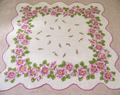 Vintage Orchid & White Floral Hanky with Wild Roses Border