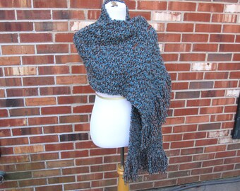 Turquoise and Browns Southwest Pueblo Prayer Shawl Wrap Handmade Knit Crochet with Fringe