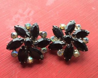 Vintage antque black crystal clip earrings mad men 1950s free shipping sale
