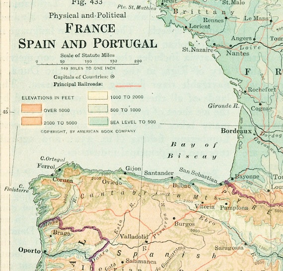 1930s France map print Spain map Portugal map physical map