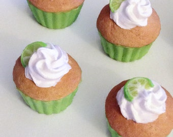 Cute Margarita Cupcake White Frosting Lime Phone Clay Charm