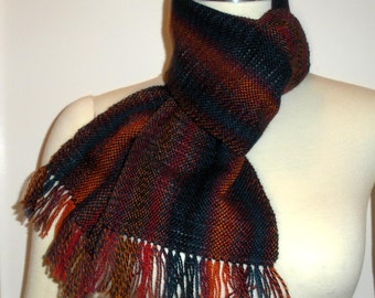 Handwoven merino scarf in warm fall colors