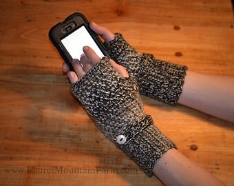 Crochet Fingerless Gloves - Soft Naturals