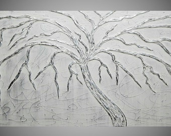 Painting Art Paintings Acrylic Painting Wall Art Canvas Art Abstract Painting White Painting with Silver Tree 48 x 24 by ilonka