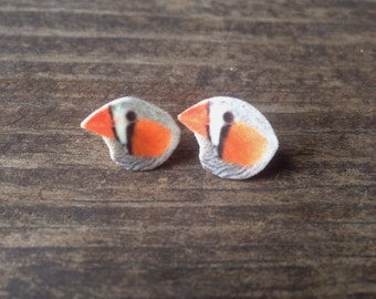 Zebra finch earrings finch jewelry bird earrings