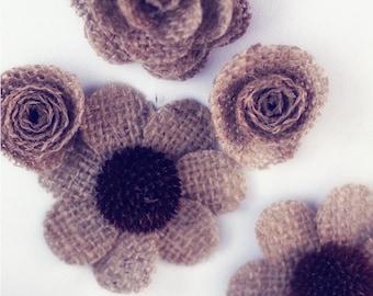 Rustic Eco-friendly Burlap Flowers - Two Dozens