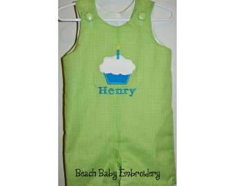 Birthday Cupcake Custom Monogrammed Jon Jon, Longall, or Bubble Romper, Fully Lined, Gingham, Many Colors, Many Sizes (CC3)