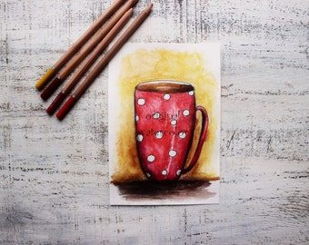 Original watercolor painting red tea cup painting 5x8' kitchen decor nursery decor red coffee mug red white poka dot watercolor nursery art