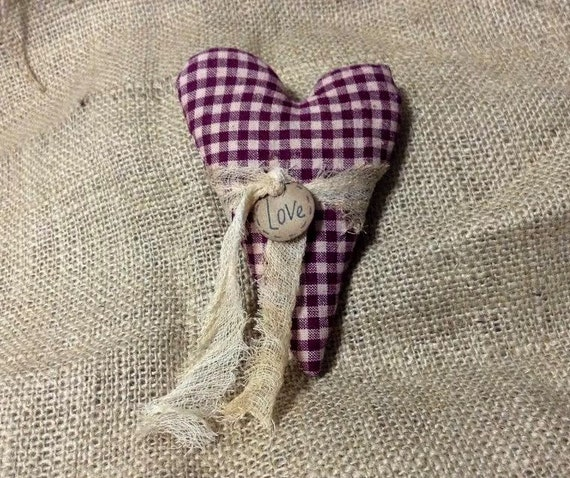 Burgandy Homespun Heart