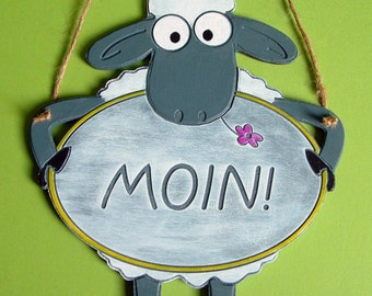 Door sign sheep moin wood engraving hand painted - door sign - sheep - hand-painted engraving - text of your choice