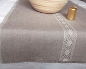 Linen table runner natural gray washed linen and lace table runner