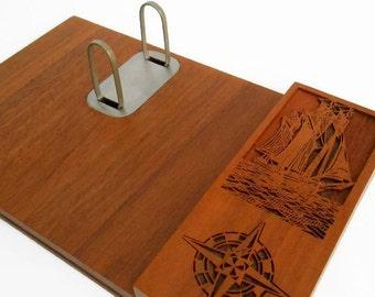 Lasercraft Wood Desk Organizer - Laser Cut Walnut - Engraved Sailing Ship - Refillable Calendar Planner - Nautical Desk Organizer