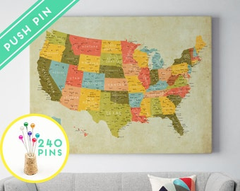 Push Pin USA States Canvas Map - Ready to hang - Gift Idea Pin It , 240 Pins included