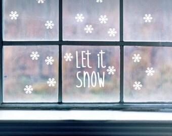LET It SNOW & SNOWFLAKES Christmas Season Xmas Wall Door Window Vinyl Decal ST1138