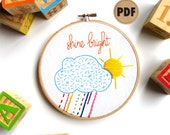 Shine Bright Embroidery Sampler DIY Crafts, Sun Cloud Downloadable PDF Embroidery Pattern, Colorful Nursery Wall Art, Rainbow Playroom Decor