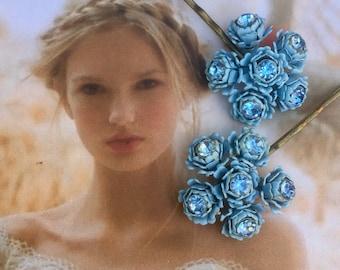 Decorative Hair Pins 1940's Bridal Blue Rose Rhinestone Hairpins Bobby Pins