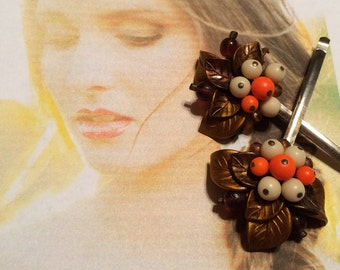 Decorative Hair Pins Jewelry 1950's Bridal Woodland Rustic West Germany Hairpins Bobby Pins
