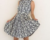 60% OFF HOLIDAY SALE Vintage 1950's Black and White Floral 2 Piece Junior Print Pattern Dress