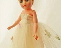 "ON SALE 1950s Fashion Doll, 10 1/2"", Strawberry Blonde Hair, All Vinyl, Jointed, Swivel Waist, Little Miss Revlon Look Alike, Unmarked"