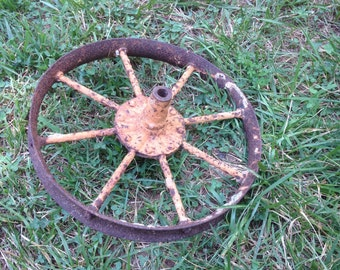 Rusty Crusty Vintage Wheel Industrial Decor Salvaged Yard Decor Assemblage Art or Robot Supply