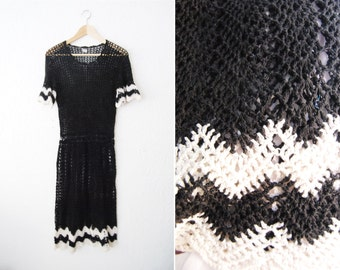 Vintage Black White Crocheted Midi Scalloped Dress / Fall / Winter / Classic