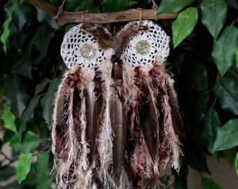 Doily Owl Brown / Beige