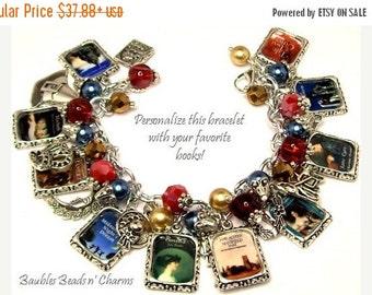 ON SALE Your Favorite Books Charm Bracelet Jewelry, Personalized Book Charm Bracelet, Custom Books Charm Bracelet, Literary Charm Bracelet
