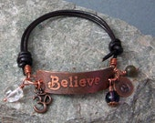 BELIEVE Hand Etched Copper & Leather Bracelet Name Word Friendship Spirit Yoga Custom Leather Inspirational Motivational Gift Birthday