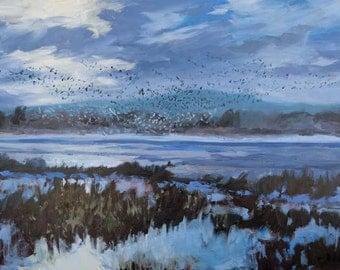 Bosque Morning Rising - Bosque del Apache - New Mexico - Original Oil Landscape Painting