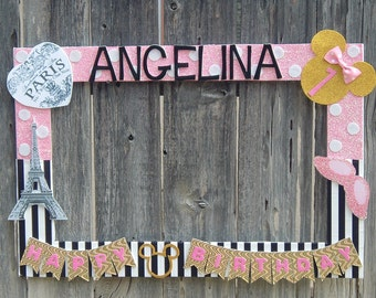 Pink  Black Minnie Mouse in Paris or any theme you want Party Photo Prop Frame