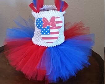 Red, White and Blue 4th of July Patrioric American Minnie Mouse Costume Girl Tutu Dress