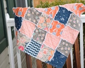 Baby Rag Quilt- Ready to ship Rag Quilt, Peach rag quilt, navy rag quilt, baby shower gift, baby girl rag quilt, one of a kind rag quilt