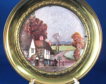 Brass Plaque Metallic Timbered English Village Pub Vintage 1930s Wall Art England Hanging Plate