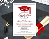 Graduation Announcement Boy Printable template Red High School Graduation Invitation instant download - College Graduation Party Invitation