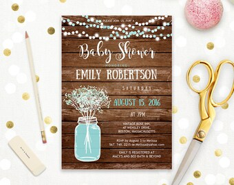 Rustic Baby Shower Invitation Printable Boy Blue Teal Mason Jar Baby Shower Baby's Breath Country baby shower digital Instant DOWNLOAD PDF