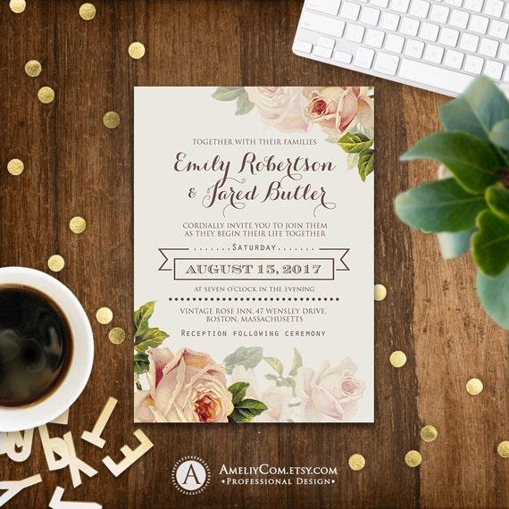 Floral Wedding Invitation Printable Gentle Cream Roses