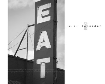 eat at joe's, route 66 sign, fine art black & white photographic print