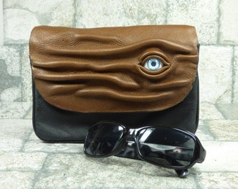 Hocus Pocus Cross Body Handbag Purse With Face Messenger Bag Harry Potter Labyrinth Monster Brown Black Leather Goth