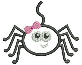 Girl Spider Applique Embroidery Design - Instant Download