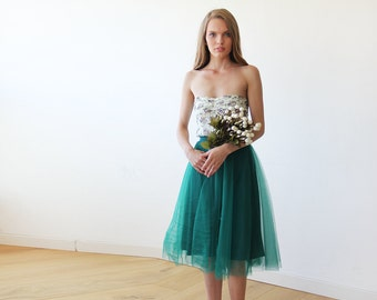 Emerald green tulle midi skirt, Knee length tutu green bridesmaids skirt 3006