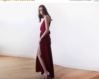 Burgundy straps wrap dress, Wine Red bridesmaids dress with a slit