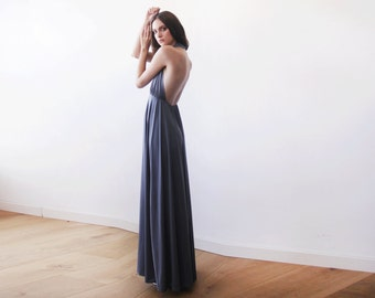 Halter neck grey maxi gown, Backless maxi grey dress, Bridesmaids grey dress