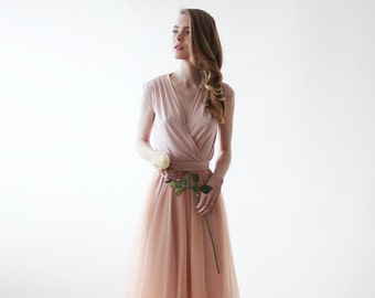 Pink maxi tulle sleeveless gown , Pink Bridesmaids maxi tulle dress 1076