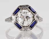Antique 18K White Gold 2ct Old European Cut Diamond  Engagement Ring