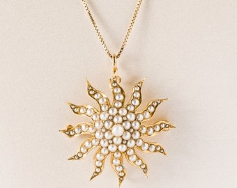 Antique Necklace - Antique 1900's Natural Seed Pearl Starburst Pendant/Pin