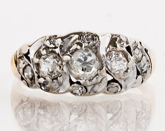 Antique Band - Antique Victorian 14k Yellow and White Gold Mine Cut Diamond Band
