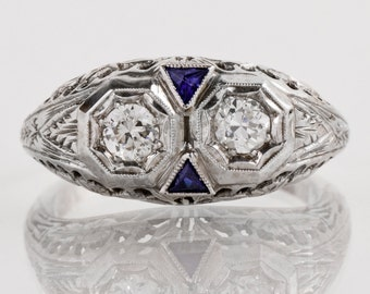Antique Engagement Ring - Antique Edwardian 18k White Gold Filigree Diamond and Sapphire Engagement Ring